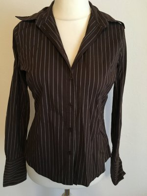 Hemd Bluse business chic Basic braun gestreift Gr. 38