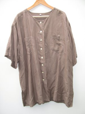 Hemd Bluse Damen braun Vintage Retro Gr. XXL