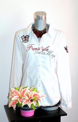 Hemd Bluse Gr.42 Weiß Rot Langarmbluse Cooler Look Print