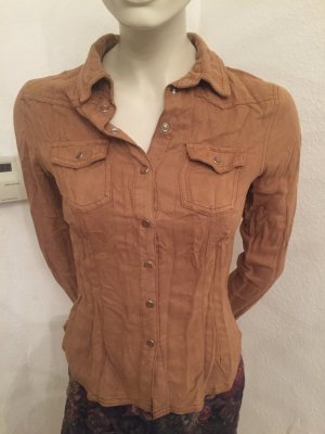 Hemd-Bluse  (H&M ) in Velours Optik in Cognac Gr.S