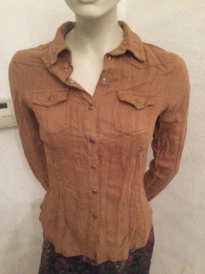 Hemd-Bluse  (H&M ) in Velours Optik in Cognac Gr.S