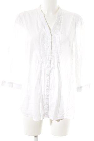 Blusa-camisa beige claro-amarillo claro estampado a rayas look casual
