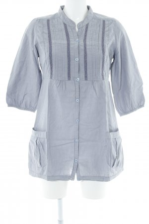 Hemd-Bluse hellgrau-graublau Streifenmuster Casual-Look