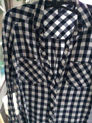 Hemd Bluse Holzfällerhemd blau weiß kariert Karo Bershka