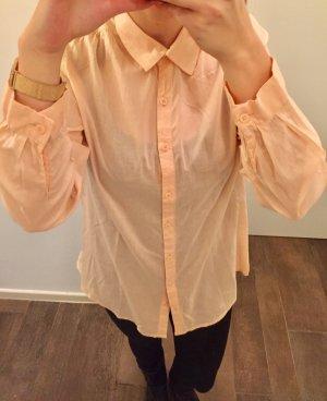 Hemd Bluse lang langärmlig mit Kragen zum Knöpfen lachsfarben rosé