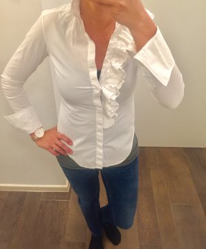 Hemd Bluse langärmlig weiß mit Rüschen Ralph Lauren zum Knöpfen Slim Fit