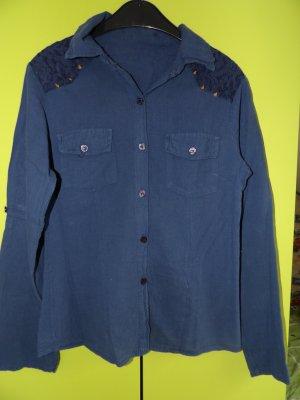 Camisa de manga larga azul acero