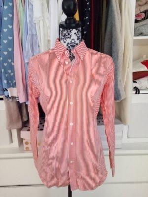 Hemd Bluse Ralph Lauren Gestreift Rot Orange Slim Fit 10 38 40