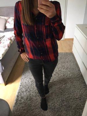Hemd Bluse schwarz blau rot karriert Only 34/36