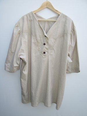 Hemd Bluse Vintage Retro Tracht Leinenmix beige Gr. 54