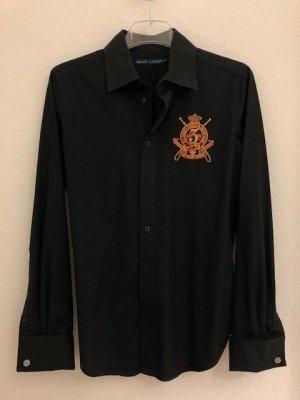 Hemd-Bluse von Ralph Lauren, schwarz mit Stickerei und Manschetten, Gr 40