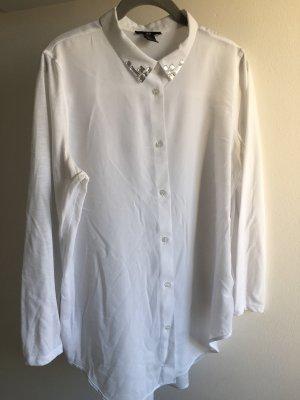 Hemd Bluse weis mit verzierten Kragen