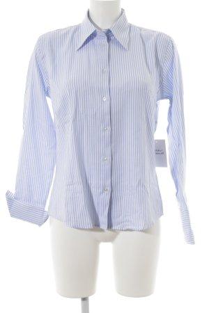 Hemd-Bluse weiß-himmelblau Streifenmuster Business-Look
