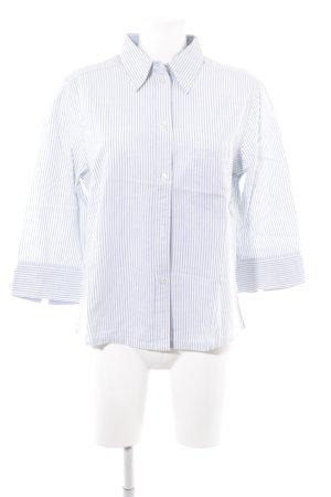 Blouse-chemisier blanc-bleu azur motif rayé style décontracté