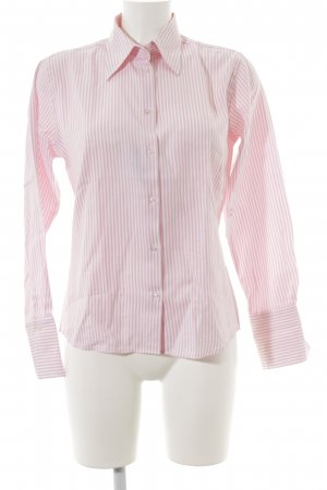 Hemd-Bluse weiß-rosa Streifenmuster Business-Look