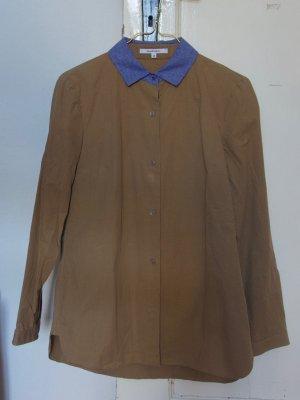 Carven Chemise à manches longues marron clair-bleu acier coton