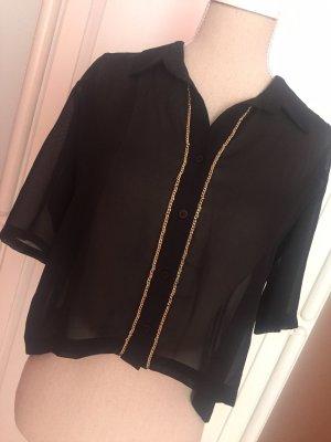 Hemd crop Gold Knöpfe transparent Shirt Bluse Fächer Falten Sommer elegant