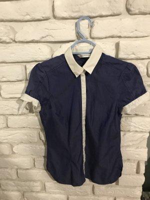 Zara Shirt met korte mouwen wit-blauw