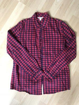 Esprit Camisa de manga larga rojo oscuro-azul oscuro