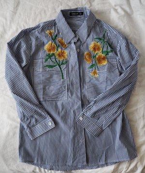 Hemd gestreift mit gelben Sonnenblumen von Zaful