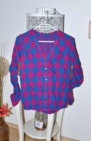 Camicia da boscaiolo rosa-blu neon