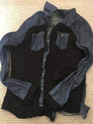 Hemd in Jeans Optick vorne schwarz