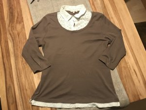 Marco Pecci Short Sleeve Shirt light brown-white cotton