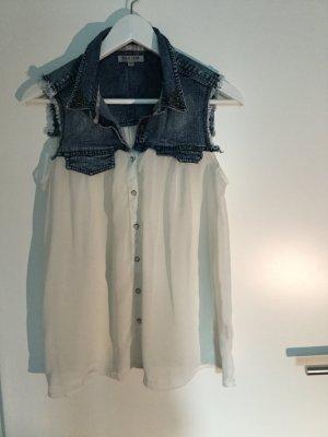 Hemd ohne Ärmel in Jeans- und Blusenstoff