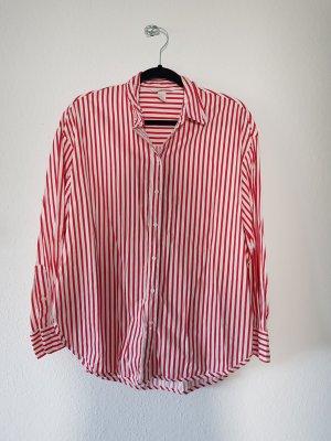 Hemd Oversize Rot Weiß Streifen Gr. 40