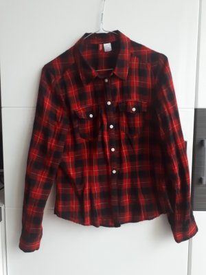 H&M Camicia blusa nero-rosso