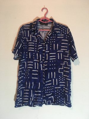 Shirt met korte mouwen staalblauw-wit Viscose