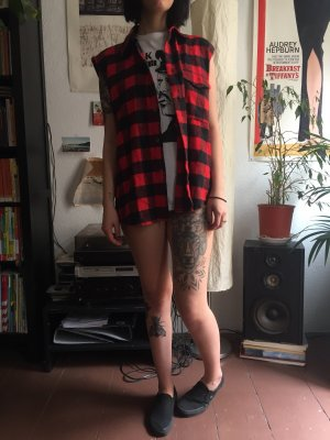 Vintage Houthakkershemd zwart-donkerrood