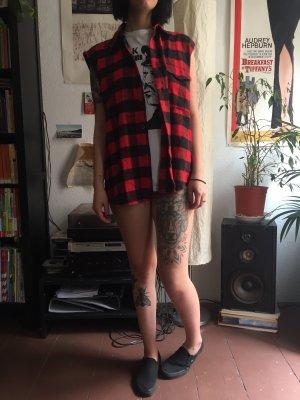 Vintage Camicia da boscaiolo nero-rosso scuro