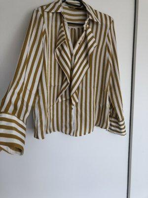 Zara Camisa de vestir amarillo-blanco
