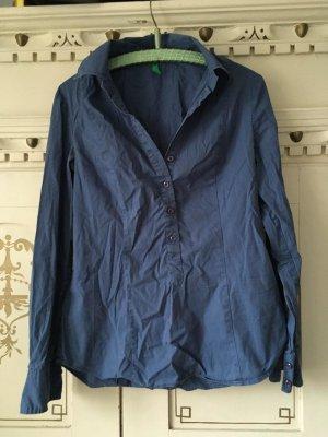 Benetton Blusa-camisa azul acero