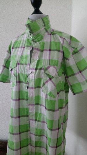 Chemise à manches courtes blanc-vert