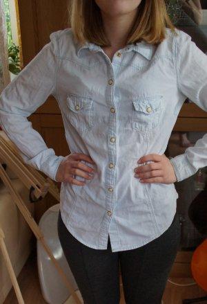 Hemdbluse|Jeans|Hellblau|Druckknöpfe|XS 34