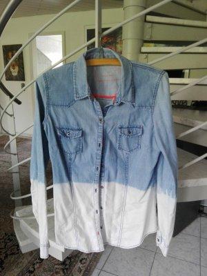 Hemdbluse Jeans wollweiß blau