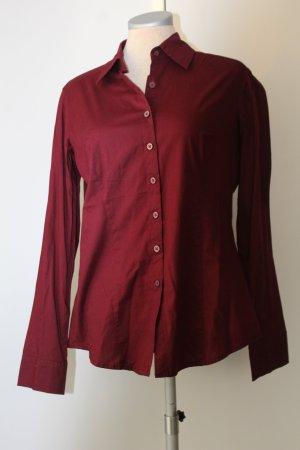 Hemdbluse Langarm bordeaux rot neu 97 % Baumwolle Gr. 36 S Bluse Büro