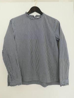 H&M Camicetta con arricciature bianco-blu scuro