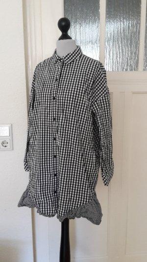 Hemdbluse mit Karos - Schwarz und weiß-mit Volants
