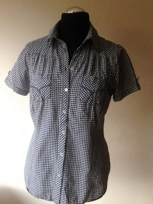 Short Sleeved Blouse white-dark blue mixture fibre