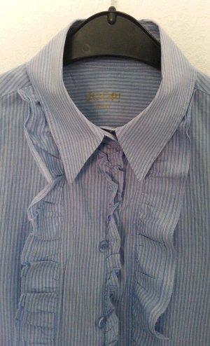 Hemdbluse von Joop! hellblau mit feinen Streifen und dezenten Rüschen - Gr. 40