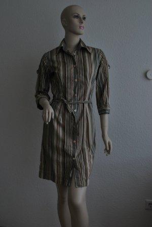 Hemdblusen-Kleid, braun-Töne mit türkis von MAZAL Paris, Größe S
