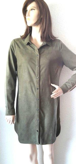 Hemdblusen Kleid Velours Wildlederoptik NEU oliv Gr M von Tramontana