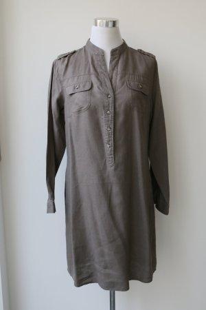 Hemdblusenkleid aus Leinen in Gr. M, olivgrün