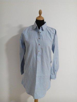 hemdblusenkleid Blusenkleid Hemdkleis shirtdress hellblau Tunika Kleid midi