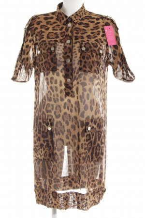 Robe chemise brun motif léopard style mode des rues