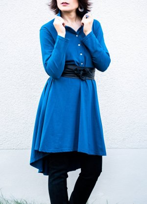 Shirtwaist dress steel blue cotton