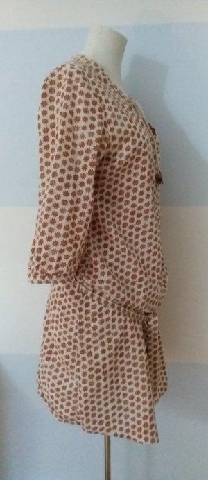 Maison Scotch Vestido tipo blusón marrón-blanco puro